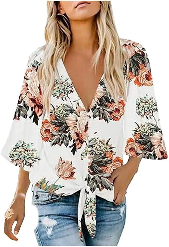 3/4 Sleeve Tunic Tops for Women, Deep V Neck Shirts Women, Woman Floral Button Down Oversized Loose Fit Blouses Tee