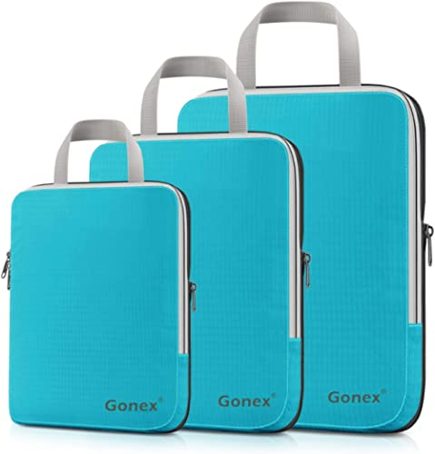 Compression Packing Cubes, Gonex Travel Organizers Upgraded 3PCS L+M+S(Blue)