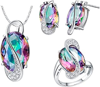 Uloveido Women Cubic Zicon Earrings Rings and Pendant Necklace Jewellery Set T472