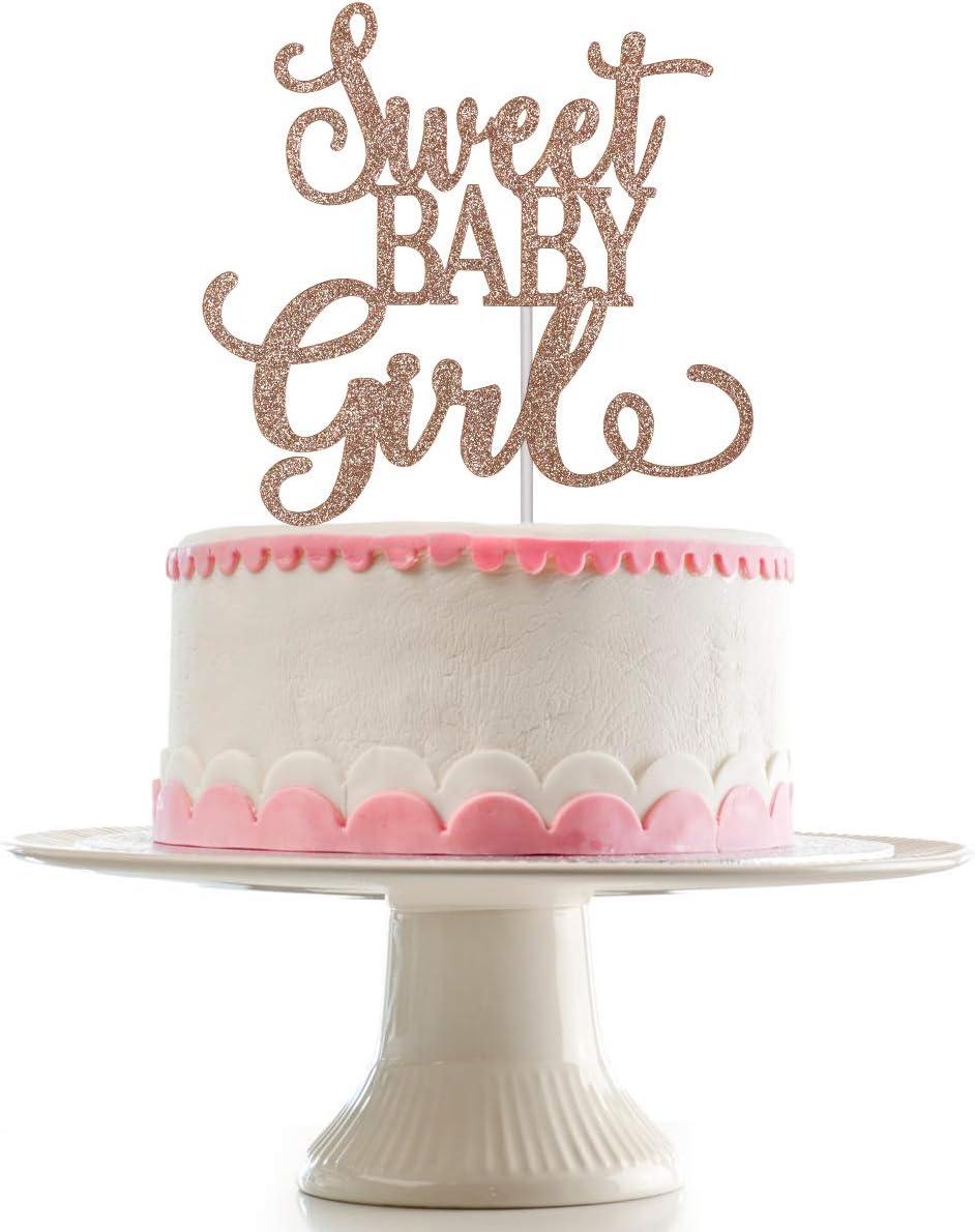 Sweet Baby Max 44% OFF Girl Very popular Cake Topper Glitter- Gold C Rose