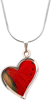 Real Sangaris Butterfly Wing Heart Necklace Sterling Silver - Insect Jewelry