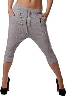 Crazy Age damskie spodnie sportowe sportowe damskie spodnie do jogi 3/4 jako Boyfriend z listwą guzikową jako ozdobne spod...