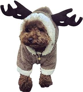 Cartoon Puzzle Elk Moose Soft Warm Coral Fleece Pet Hoodie Coat Jacket Winter Thick Velvet Party Dress Up Hooded Clothes S...