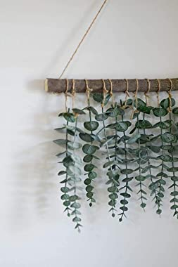 Anupow Artificial Eucalyptus Greenery Hanging Wall Decor Fake Eucalyptus Vines Wall Hanging Plants with Wooden Stick Farmhous