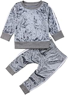 GOOCHEER 2 Pcs Fashion Toddler Kids Baby Girls Velvet Clothes Outfit Pant Set Fall Winter