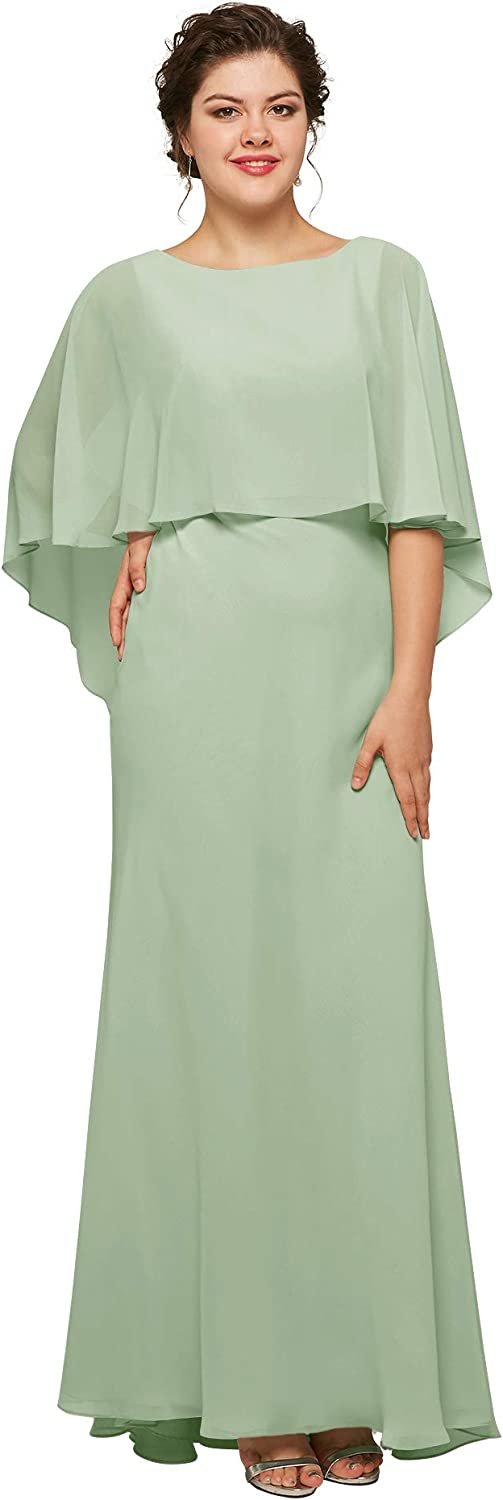 AW BRIDAL Chiffon Long Plus Size Mother of The Bride Dresses for Wedding Formal Evening Party Dress with Cape