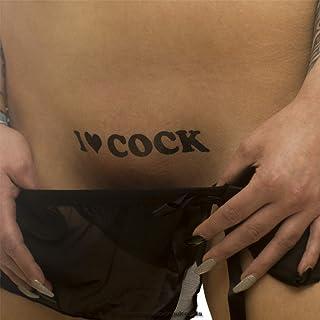 5 x I ❤ COCK - Tattoo Schriftzug in schwarz - Temporary Fe