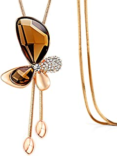Chaomingzhen Gold Plated Colorful Crystal Created-opal Bear Pendants Extra Long Necklaces Women
