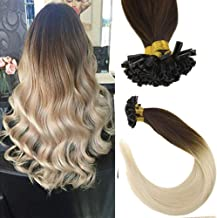 Sunny Ombre U Tip Hair Extensions 14inch -Remy U tip Dark Brown to Bleach Blonde Ombre Tip in Hair Extensions,Col #4/613,1g/s,50gram/pack