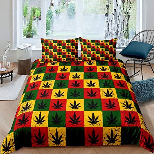 Juego de funda de edredón con hojas de marihuana y cuadrícula de marihuana, con 1 funda de almohada, tamaño individual, diseño de cuadros de búfalo, suave decoración de habitación