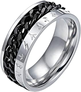 Valily Norse Viking Symbol Ring Stainless Steel/18K Gold/Black Cuban Link Rotating Ring for Men Size 7-13