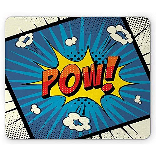 Blauwe gele Vintage muismat, Retro Fun Halftone Pow Lettering in een Pop Art Comic stijl, anti-slip Rubber, 25x30cm Ivoor