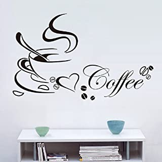 Yinpinxinmao Coffee Cup Beans Heart Wall Sticker Removable Waterproof Home Office Cafe Decal