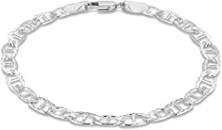 Tuscany 纯银 120 钻石切割 Rambo 链手链 19cm/7.5 英寸