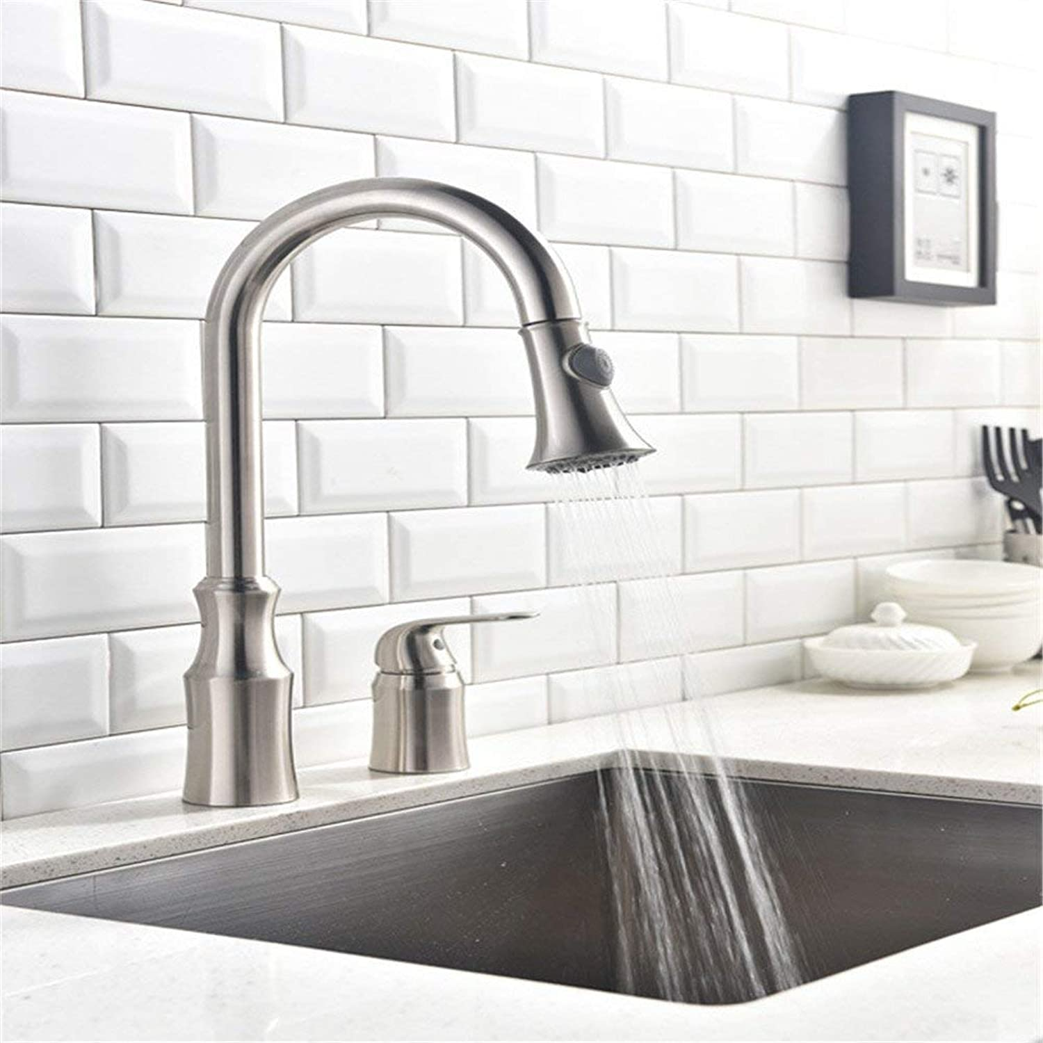 Contemporary Hot and Cold Taps Pumping Split-Type Faucet Basin Mixing Multifunctional Kitchen Faucet,White