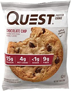 Quest Nutrition Chocolate Chip Protein Cookie, High Protein, Low Carb, Gluten Free, Soy Free, 12 Count