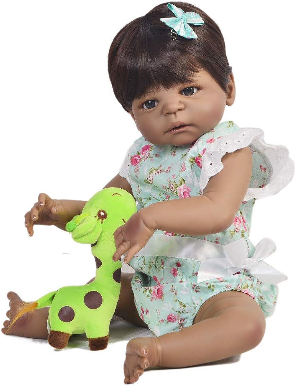 Unexceptionable-Dolls 23 '' Fashion schwarz Skin Reborn Babypuppen Neugeborenes Mdchen Wirklich Ganzkrper Silikon Boneca Reborn Für Kindergeburtstagsgeschenk, braune Augen