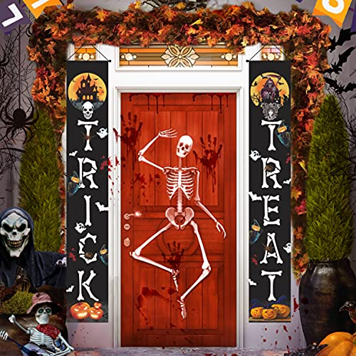 Halloween Decorations Outdoor Indoor, 71 x 12.5′ Halloween Banner Décor, Trick Or Treat Large Vertical Halloween Banners Porch Signs for Home Front Door Outside Yard Party Supplies