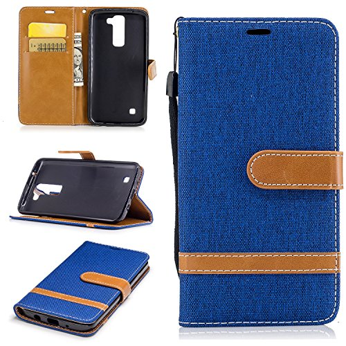 Hülle für LG K8 K350N / K7 X210 Hülle Handyhülle [Standfunktion] [Kartenfach] [Magnetverschluss] Schutzhülle lederhülle flip case für LG K8 / LG K7 - DEBF030902 Saphir