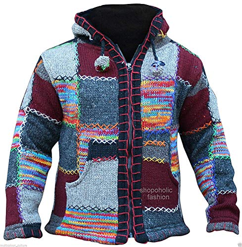 Shopoholic Fashion - Giacca con cappuccio Supercosy Festival, in lana nepalese patchwork colorata, Hippy Boho Red Mix X-Large