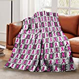 Ultra-Soft Flannel Blanket Pink Leopard Breast Cancer Awareness Throw Blankets Warm Fuzzy Plush Blanket for Boys Girls Bed Blanket for Crib Couch Chair Living Room Home Travel 50'X40' for Kids Baby