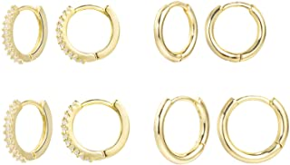 Small Hoop Earrings 14K Gold Plated Hypoallergenic Huggie Hoop Earrings with Cub