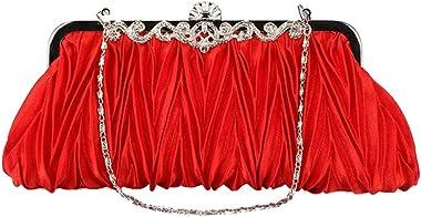 Dama De Noche De Raso De Cristal Bolso Monedero De La Boda Del Embrague Bolsa De Novia De Color Rojo