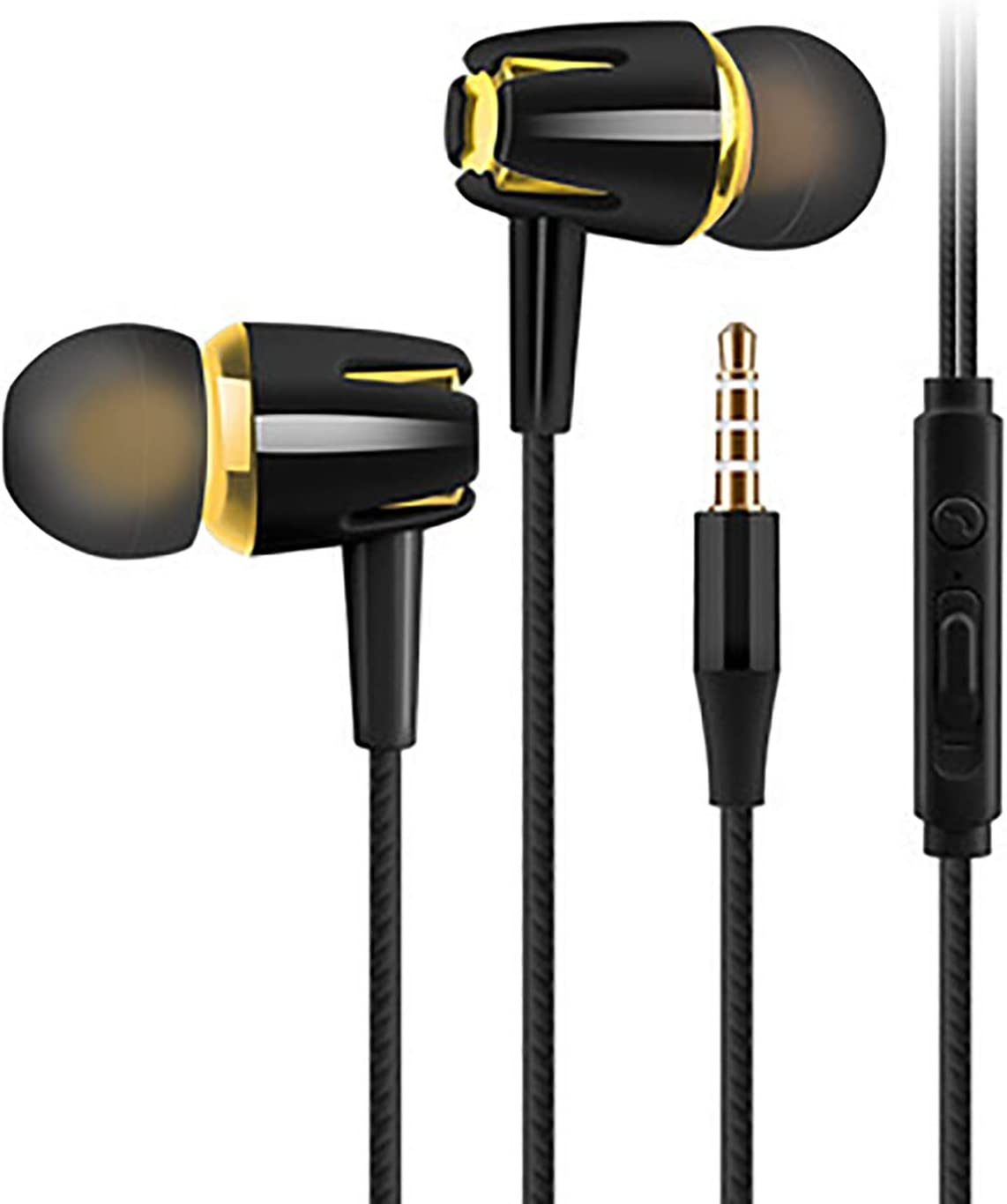 LUYANhapy9 Wired Earphones,Comfortable Noise Reduction Earbuds Stereo Lightweight Fits All 3.5mm Interface Device in-Ear Wired Earbuds for Sports Black & Gold One Size