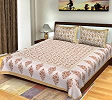 Bhagwatiudyog Cotton Block Print Double Bedsheet with Pillow Cover, King Size, Brown