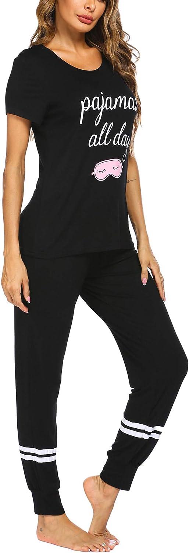 Ekouaer Womens Pajamas Set Short Sleeve Sleepwear Tops with Long Pants Pjs Set Print Nightwear