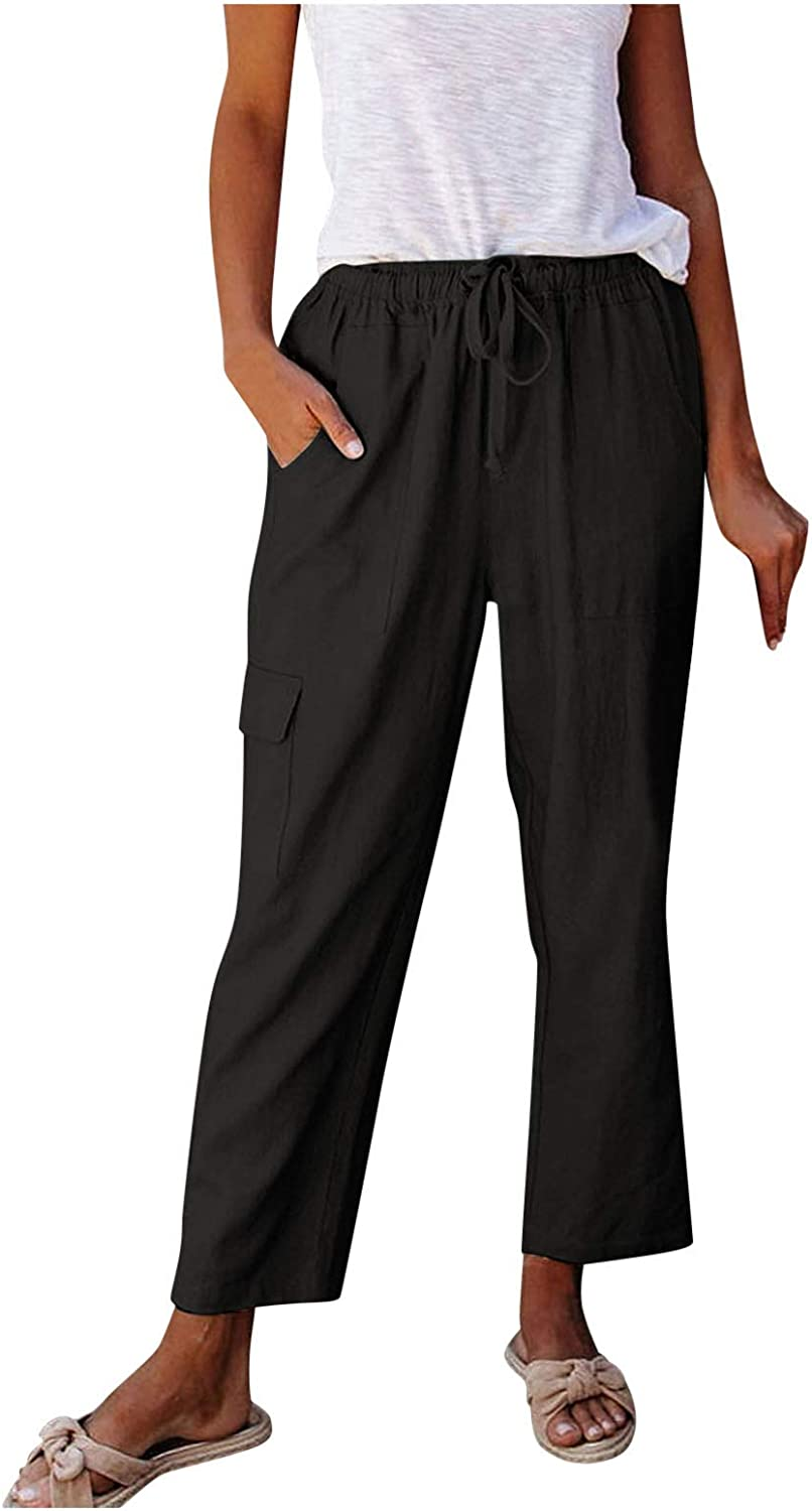 YAWEIE Casual Linen Pants Comfortable Loose Elastic Waist Cotton Trouser Wide Leg Pants with Drawstring