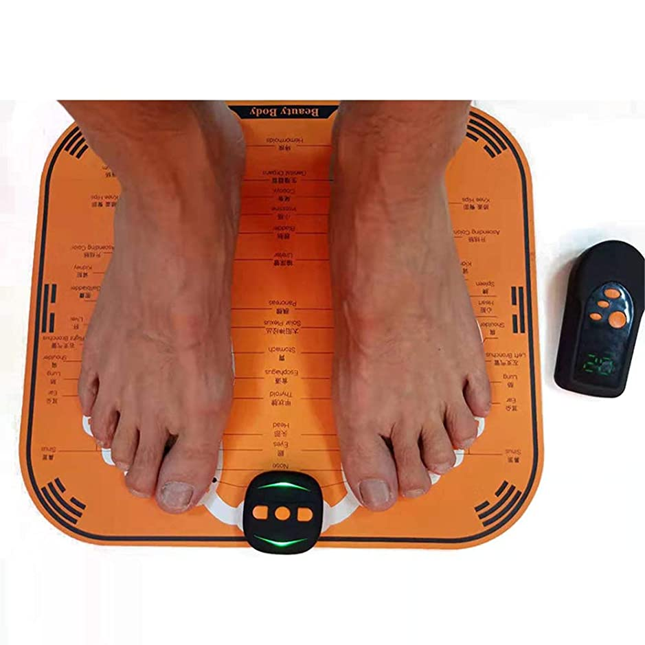 サンダーブレンド桁EMSフットマッサージャー、折り畳み式電動フットマッサージャーマシンマッサージクッション筋肉刺激USB充電、フットマッサージャー、血行促進6モード、10強度レベル