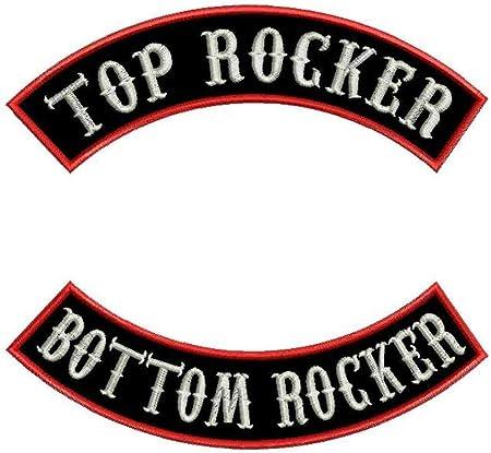 "Custom Embroidered 14/"" Top And Bottom Rocker Patch 2 pc Set Biker MC Club Cut US"
