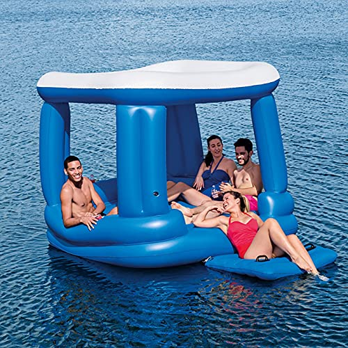 Inflatable Large Floating Mat Raft Island, Adults Bag Lounge Fits Up to 4-6 People Great for Pool Lake,Float Party Toys, Relaxation Island, 7.1' 7.1'