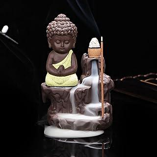 eCraftIndia Meditating Monk Buddha Smoke Backflow Cone Decorative Incense Holder (7 cm x 7 cm x 12, Yellow)