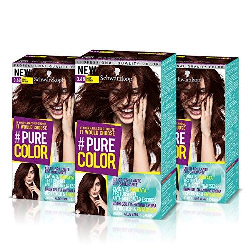 Schwarzkopf Pure Color Permanent Gel Färbung No. 3,68Blatt braun (3er Pack)