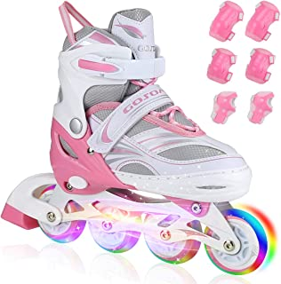 PETUOL Kids Inline Skates, Adjustable and Safe Durable Children Roller Skates with All 8 Full Light Up Illuminating Wheels, Fashionable Outdoor Sport Skates for Girls and Ladies