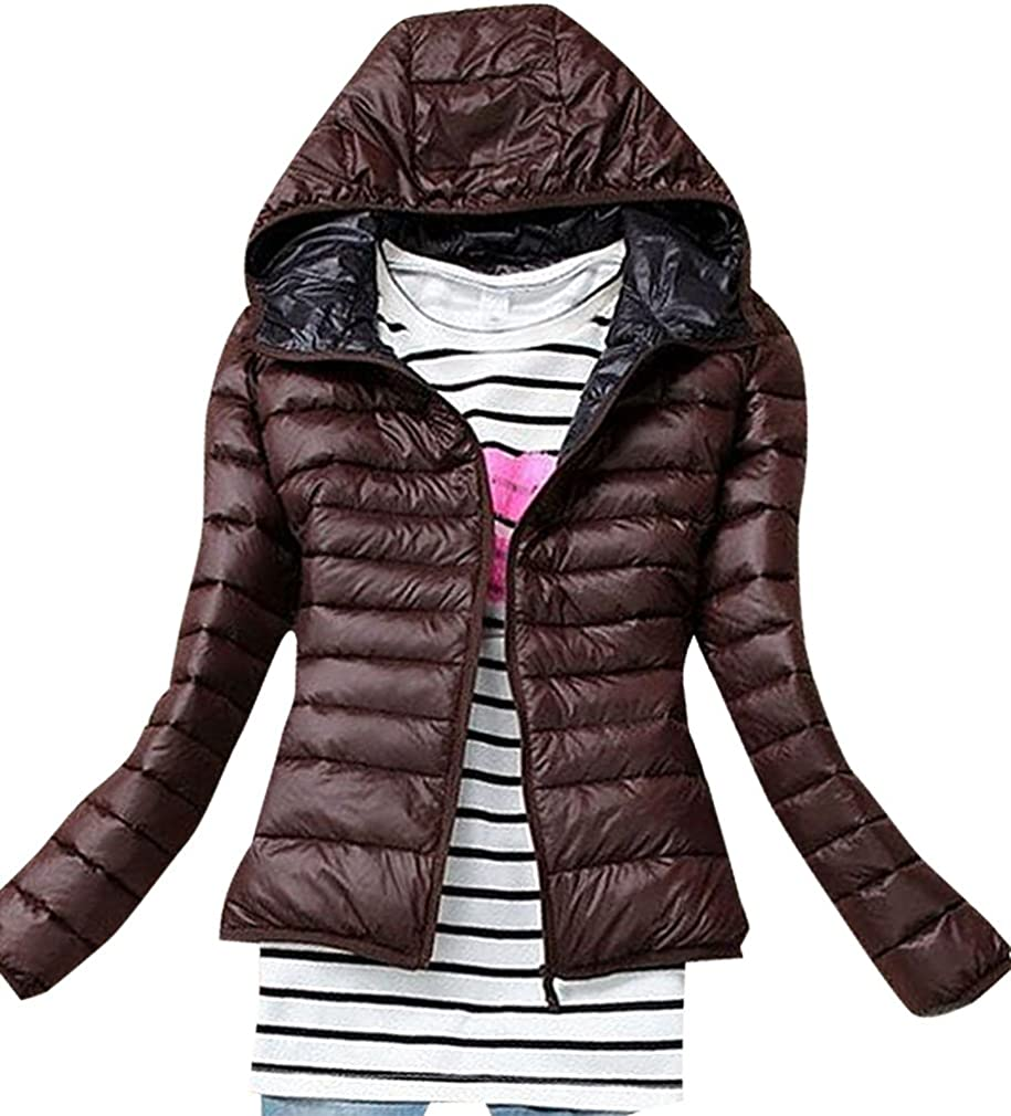 US&R Women Candy Color Quilted Zip Up Pocketed Hooded Warm Mini Wind Jacket