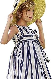 Yumiki ベビー服 女の子ワンピース 子供ワンピース ストライプ キッズ可愛い スカート 女児 プレゼント ノースリーブ ドレス ガールズスカート お出かけ 通園 通学 出産祝い チュニック お姫様ドレス プリンセス 夏服