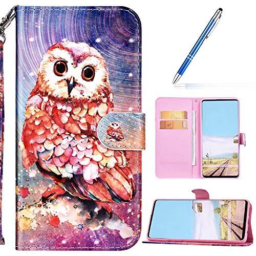 URFEDA Kompatibel mit Samsung Galaxy M31S Handyhülle Handytasche Leder Flip Case Brieftasche,Glitzer 3D Bunt Gemalt Muster Schutzhülle Magnetisch Kartenfach Ständer Klapphülle Lederhülle, Eule