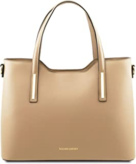Tuscany Leather Olimpia - Ruga Leather Tote - TL141412 (Champagne)