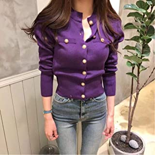 LJLLINGA Women O-Neck Knitted Full Sleeve Cropped Buttons Slim Sweaters Cardigans Lady Single-Breasted Sweater Crop Tops F...