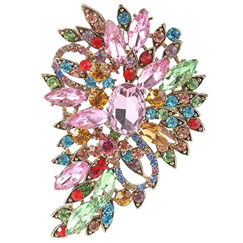 EVER FAITH Damen Marquise Österreichische Kristall Hochzeit Blume Blatt Bouquet Brosche bunt Antique Gold-Ton