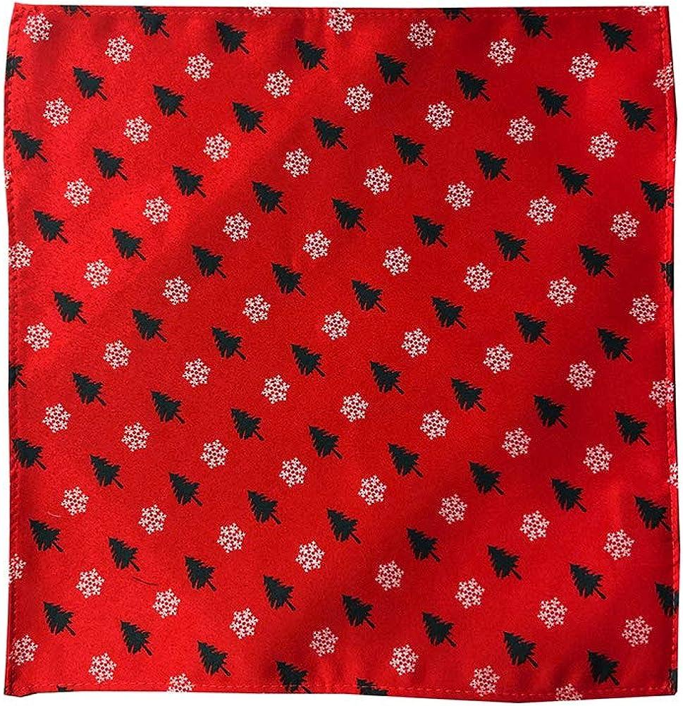 Jacob Alexander Men's Red Orange Christmas Trees Snowflakes Motif Pocket Square Handkerchief Hanky