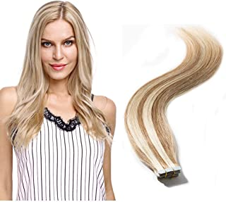 Tape in Human Hair Extensions Blonde Highlight Highlighted Double Side Tape Seamless Skin Weft Natural Hair Extensions 20pcs Long Straight #12/613 Light Brown mix Bleach Blonde 14''/14inch 40g