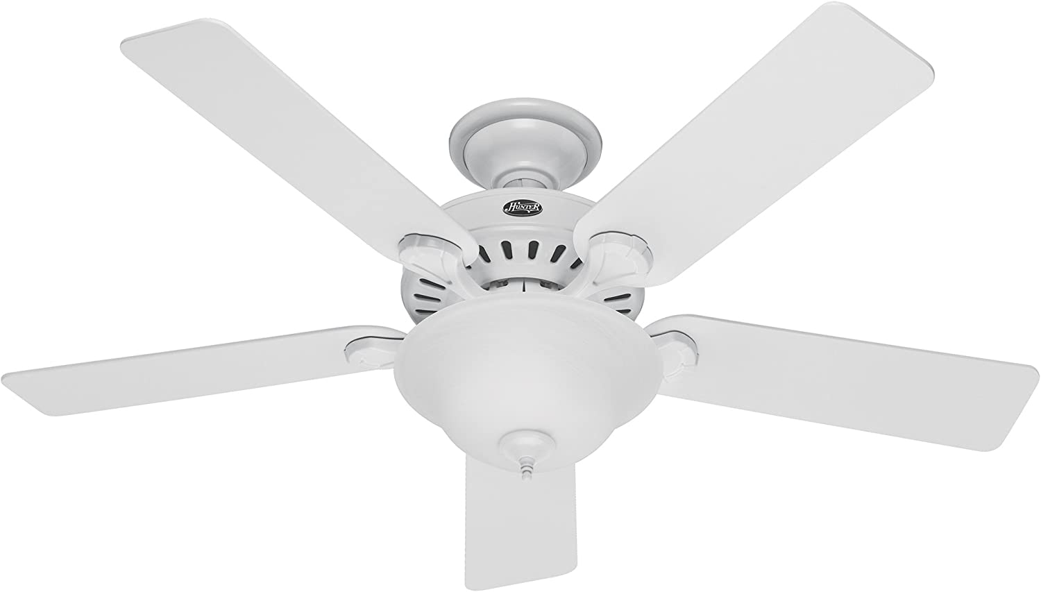 Hunter 53251 Pro's Best Five Minute Fan 52-inch White Ceiling Fan with Five White Beech Blades and Swirled Marble Glass Bowl Light Kit