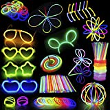 448 Glow Sticks Bulk; 200 Glowsticks 8' Light up in 7 Colors Glow in the Dark Necklaces, Bracelets for Halloween Visible, Movie Night Party Supplies, School Classroom Hangout