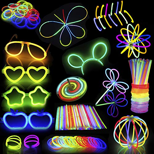 "448 Pieces Glow Sticks Bulk; 200 Glowsticks 8"" Light up in 7 Colors Glow in the Dark Necklaces, Bracelets for Halloween Visible, Movie Night Party Supplies, School Classroom Hangout"