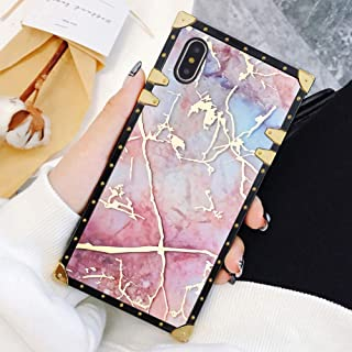 Square Case Compatible iPhone Xs Max Modern Marble Luxury Elegant Soft TPU Full Body Shockproof Protective Case Metal Decoration Corner Back Cover iPhone Xs Max Case 6.5 Inch