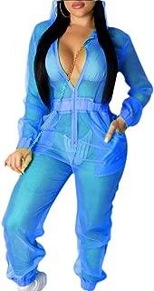 Womens Hood Long Sleeve Mesh Zipper See Through Jumpsuit Romper